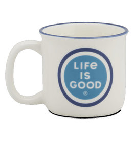 Life is Good Happy Camper Mug LIG Coin, Cloud White