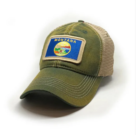 Montana Flag Trucker Hat, Green