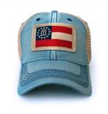 S.L. Revival Co. Georgia State Flag Patch Trucker Hat, Americana Blue
