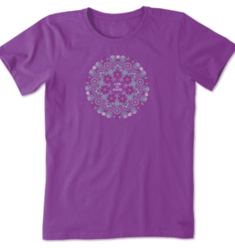 Life is Good W's Crusher Tee, Wildflower Primal Mandala, Happy Plum