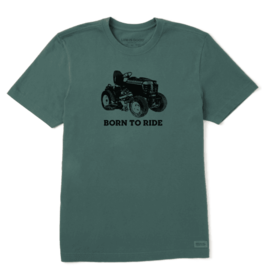 Life is Good M's Crusher Tee, Born To Ride Mower, Supreme Green