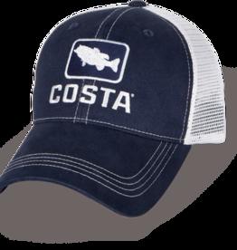 Costa Del Mar Bass Trucker XL Hat, Navy/White