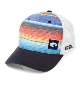 Costa Del Mar Baja Stripe Trucker Hat, Blue