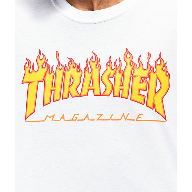Eastern Skate Supply Thrasher Flame Short Sleeve T-Shirt, White