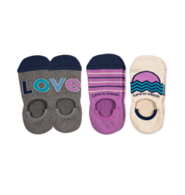 Life is Good 3-Pack W's Love Cushioned No Show Socks