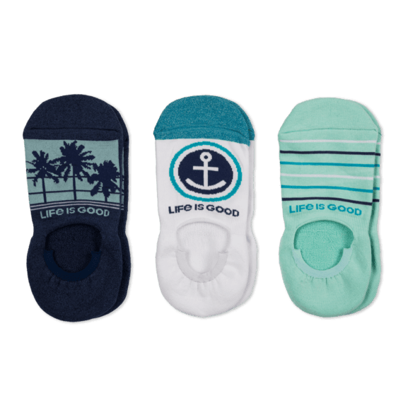 Life is Good 3-Pack W's Palm Tree & Anchor Cushoined No Show Socks
