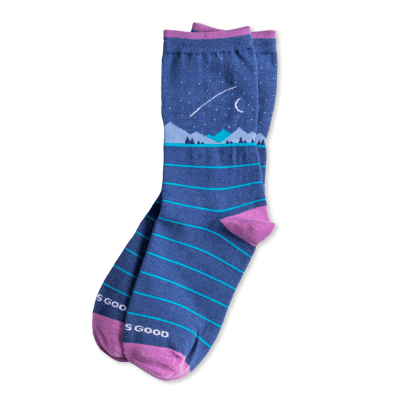 Life is Good W's Night Scene Crew Socks