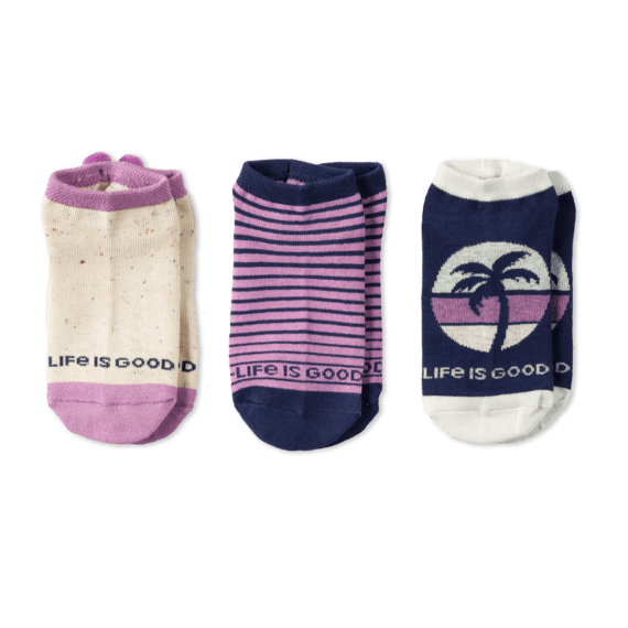 Life is Good 3-Pack Girls Palm Tree Low Cut Socks