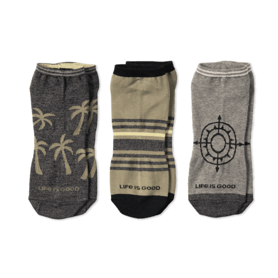 Life is Good 3-Pack M's Palm Tree & Compass Low Cut Sock