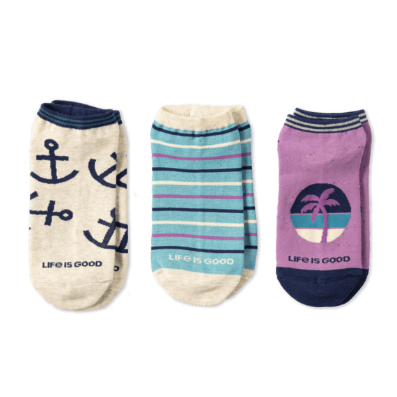 Life is Good 3-Pack W's Anchor & Palm Low Cut Sock
