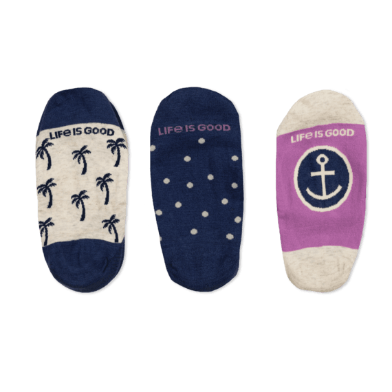 Life is Good 3-Pack W's Palm Tree & Anchor Liner Socks