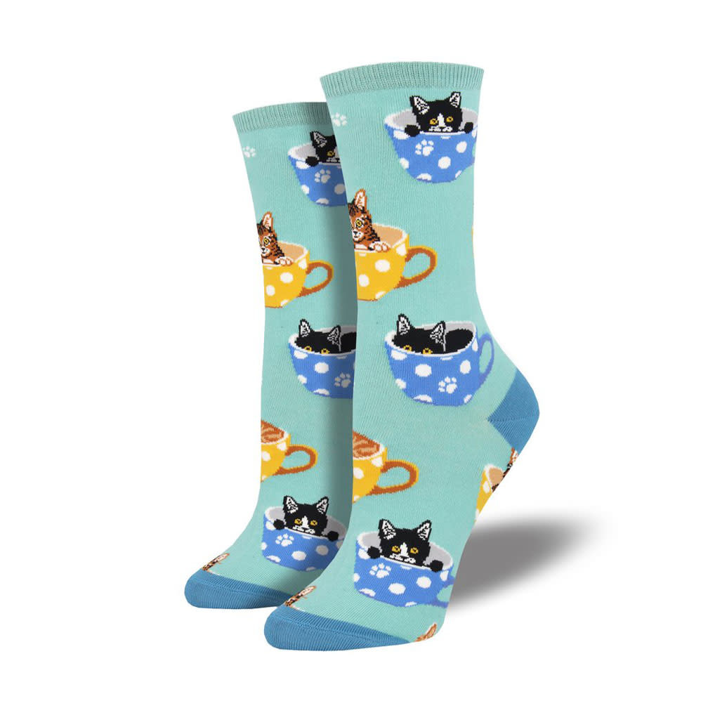 Socksmith W's Cat-Feinated, Sky Blue