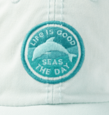 Life is Good Sunwashed Chill Cap, Seas The Day Dolphin, Bermuda Blue