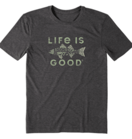 Life is Good M's Cool Tee, Fish Pattern, Night Black