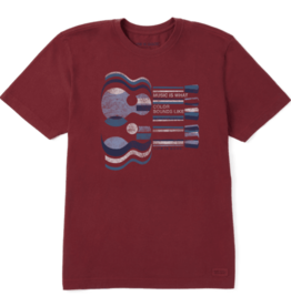 Life is Good M's Crusher Tee, Music Is What Color Sounds Like, Cranberry Red
