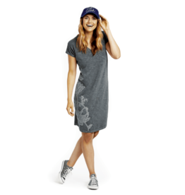 Life is Good W Slub Tee Dress Blooming Embroided, Slate Grey