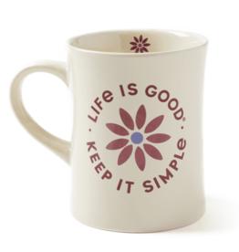 Life is Good Diner Mug, Daisy Keep it Simple, Bone