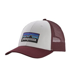 Patagonia P-6 Logo LoPro Trucker Hat, White w/Dark Ruby