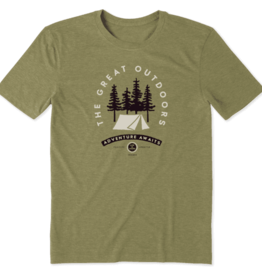 Life is Good M's Cool Tee, LIG Adventure Awaits, Fatigue Green