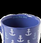 Life is Good Diner Mug, Anchor Pattern. Vintage Blue