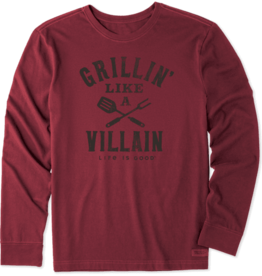 Life is Good M's Long Sleeve Crusher, Grillin Like a Villian, Cranberry Red