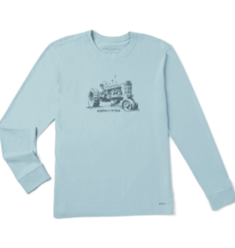 Life is Good M's Long Sleeve Crusher Tee, Keepin' it Rural, Beach Blue