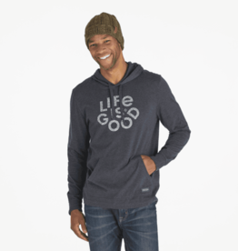 Life is Good M's Long Sleeve Hooded Crusher, Superpower Totem, Heather Night Black