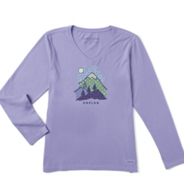 Life is Good W's Long Sleeve Crusher Vee, Unplug Mountain Pattern, Moonstone Purple