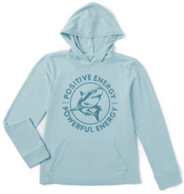 Life is Good Kid's Hooded Crusher Tee, Powerful Energy Shark, Beach Blue