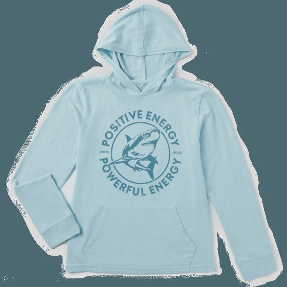 Life is Good Kid's Hooded Crusher Tee, Powerful Energy Shark, Beach Blue