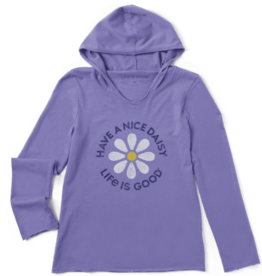Life is Good Kid's Hooded Smooth Tee, Have a Nice Daisy, Moonstone Purple
