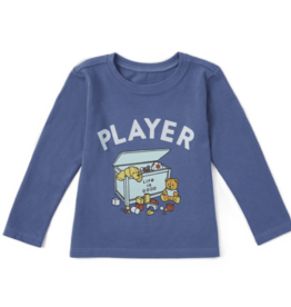 Life is Good Toddler Long Sleeve Crusher Tee, LIG Player, Vintage Blue