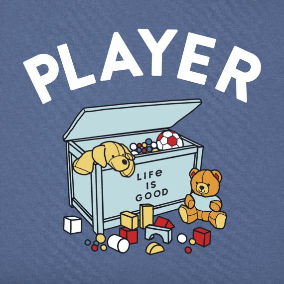 Life is Good Toddler Long Sleeve Crusher Tee, LIG Player, Vintage Blue