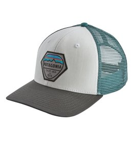 Patagonia Fitz Roy Hex Trucker Hat, White w/Forge Grey