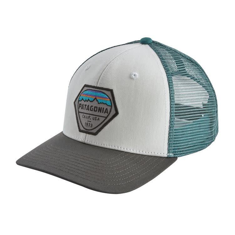 Patagonia Fitz Roy Hex Trucker Hat, White w/Forge Grey