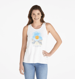 Life is Good W's Breezy Tank, Walk to the Beach, Cloud White