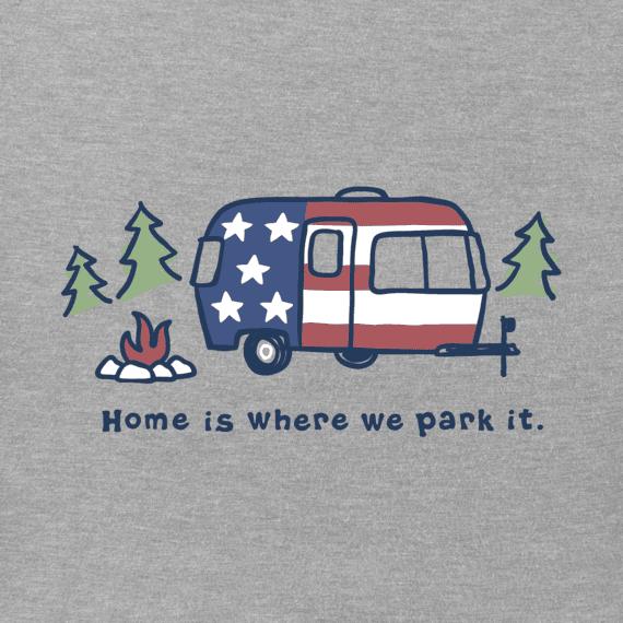 Life is Good M's Long Sleeve Americana Camper Vintage Crusher Tee, Heather Grey
