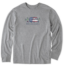 Life is Good M's Long Sleeve Americana Camper Vintage Crusher Tee, Heather Grey
