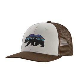 Patagonia Fitz Roy Bear Trucker Hat, White w/Bristle Brown