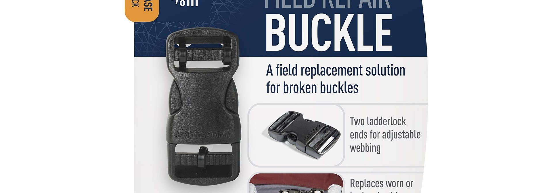 "Field Repair Buckle 15mm / 5/8"" Side Release 2 Ladderlock"