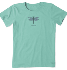 Life is Good W's Crusher Tee, Engraved Dragonfly, Aqua Blue