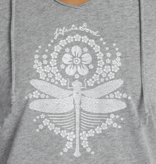 Life is Good W's Hooded Smooth Tee, Primal Dragonfly, Heather Gray