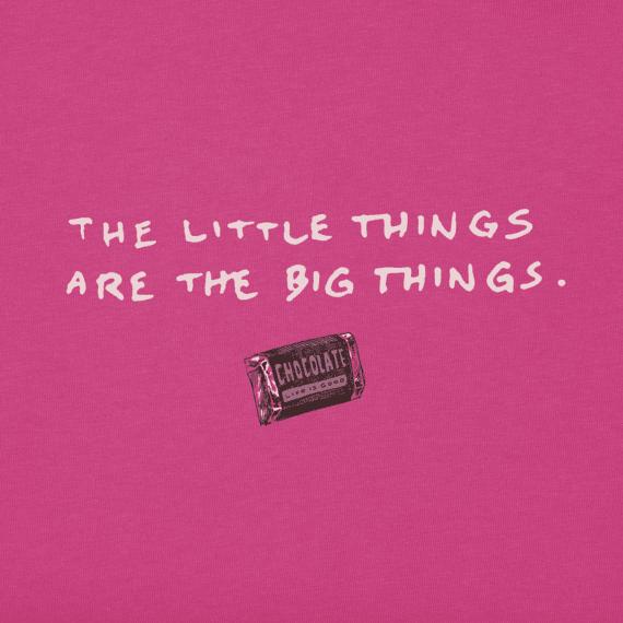 Life is Good W's Crusher Vee, Little Things Chocolate, Fiesta Pink