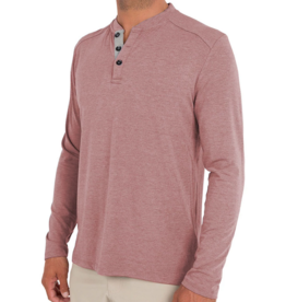 Free Fly M's Bamboo Flex Henley, Heather Adobe Red