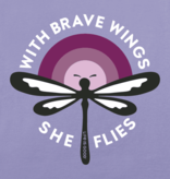 Life is Good Kid's Crusher Tee, With Brave Wings She Flies, Moonstone Purple