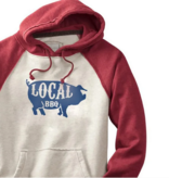 S.L. Revival Co. Local BBQ Pig Hippy Hoodie, Oatmeal and Red