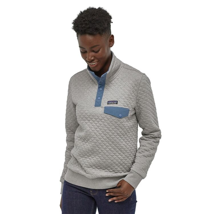 Patagonia W's Organic Cotton Quilt Snap-T Pullover, Drifter Grey w/Woolly Blue