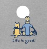 Life is Good M's Vintage Crusher Tee, Jake and Rocket Moon, Heather Grey