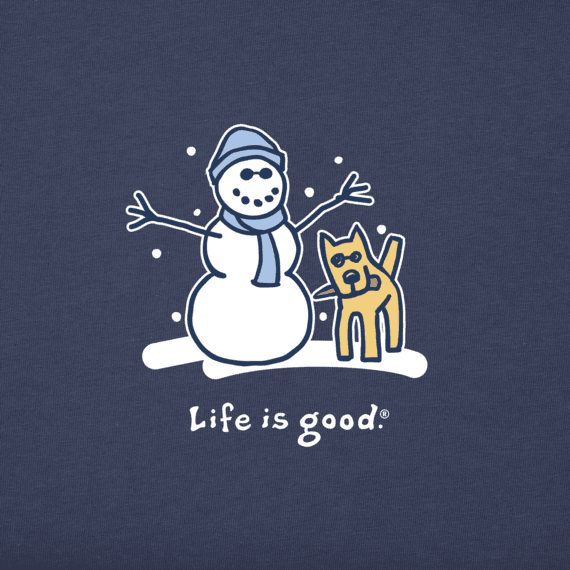 Life is Good M's Long Sleeve Vintage Snowman and Rocket, Darkest Blue