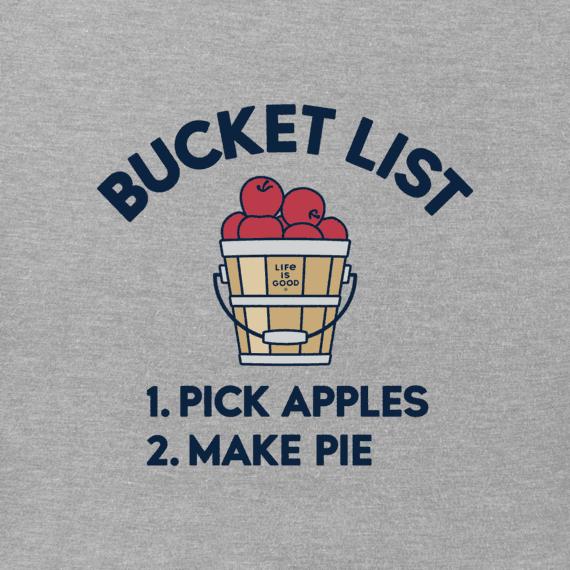 Life is Good W's Long Sleeve Crew Bucket List Apples, Heather Grey